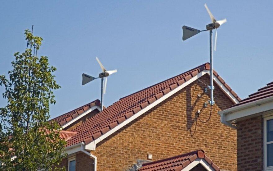 Individualios vėjo jėgainės ant stogo