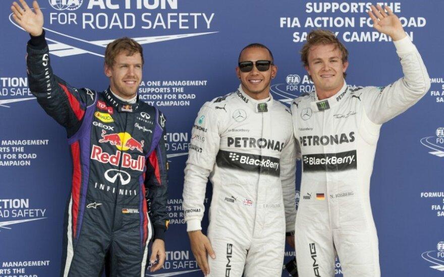 Sebastianas Vettelis, Lewisas Hamiltonas ir Nico Rosbergas
