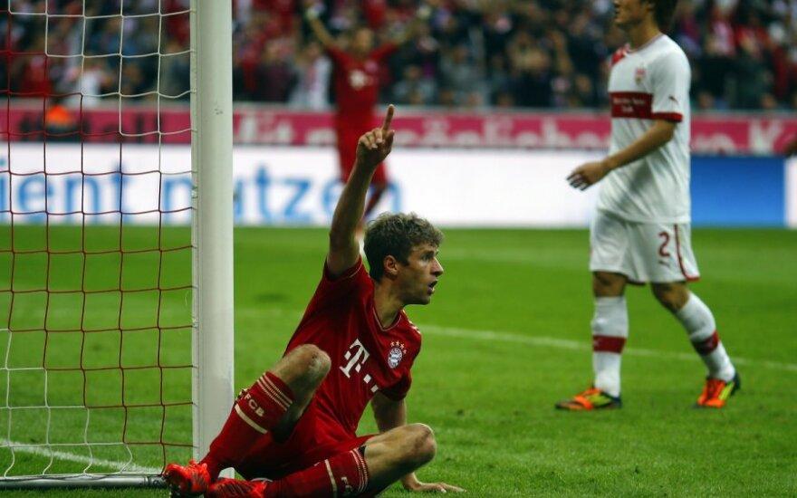 Thomas Mulleris džiaugiasi pelnytu įvarčiu