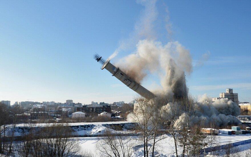 Jekaterinburge griuvo miesto simboliu laikytas TV bokštas