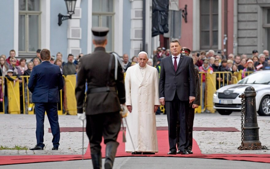 Pope Francis and Latvian President Raimonds Vējonis