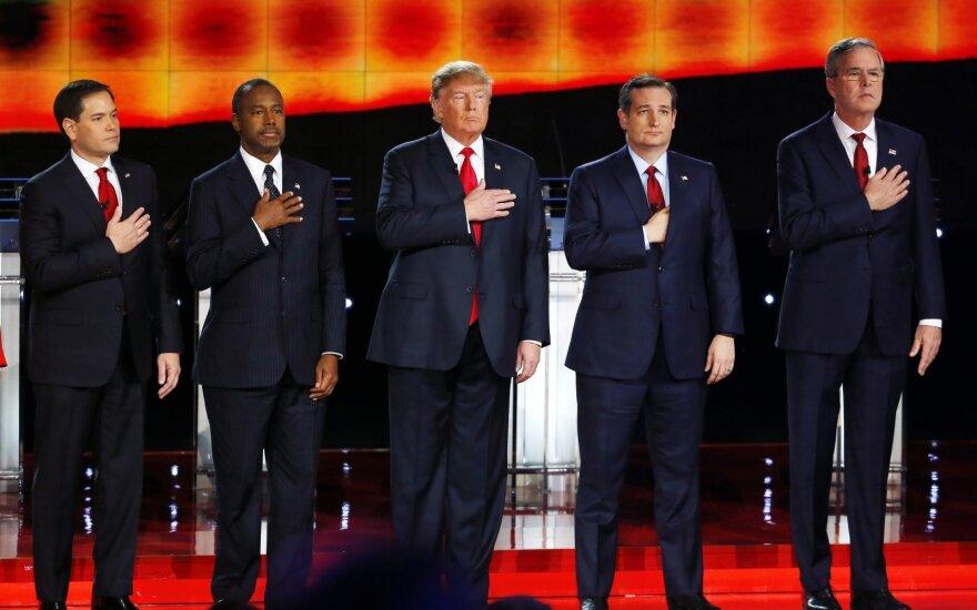 Republican candidates: Marco Rubio, Ben Carson, Donald Trump, Ted Cruz, Jeb Bush