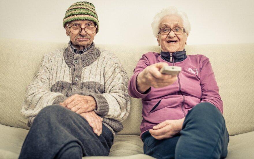 Seniors watching TV