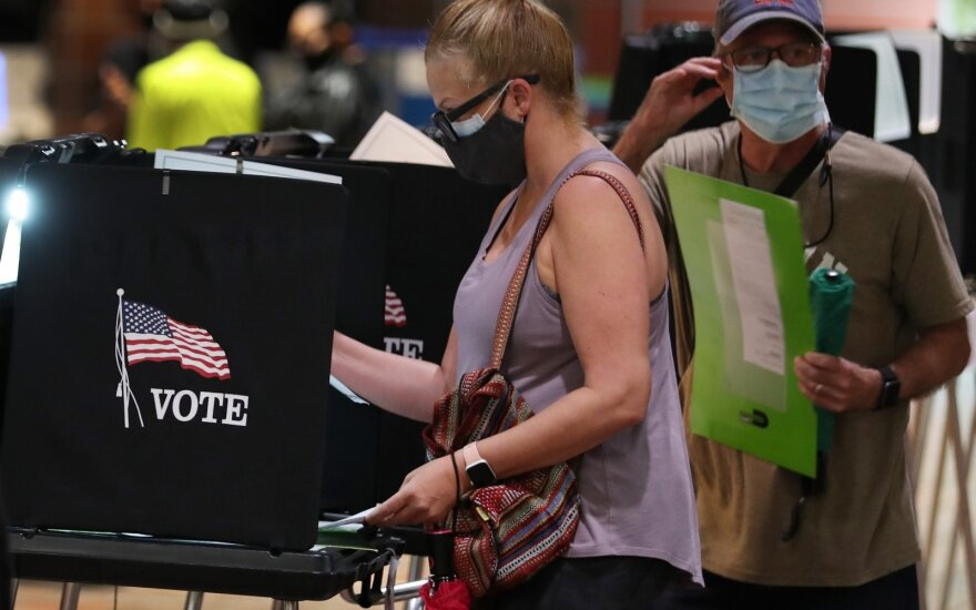 Amerikiečiai balsuoja išankstiniuose rinkimuose, 2020 m. spalio 21 d., Florida