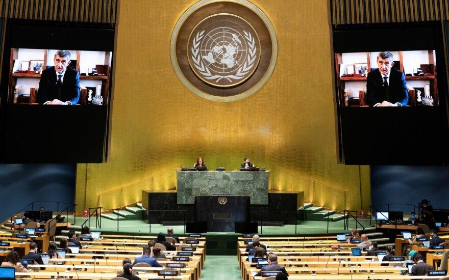 Čekijos Respublikos ministras pirmininkas Andrejus Babisas kalba 75-osios kasmetinės JT Generalinės asamblėjos metu, kuri daugiausia vyksta nuotoliniu būdu dėl koronaviruso pandemijos