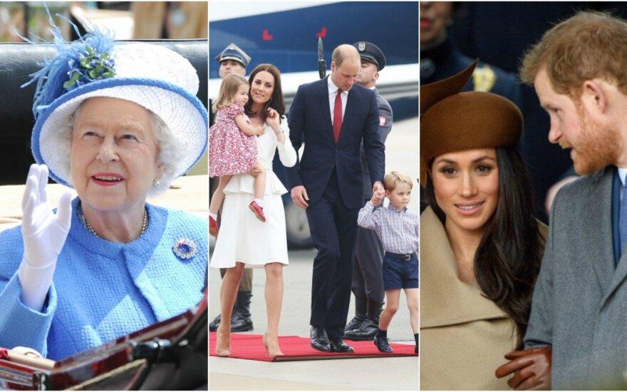Elžbieta II, princo Williamo šeima ir princas Harry su Meghan Markle