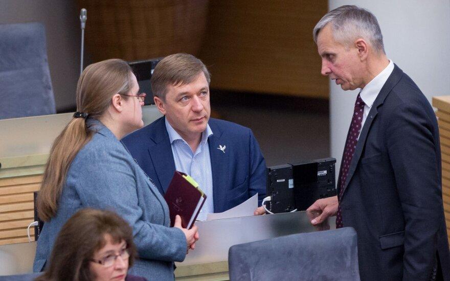 Agnė Širinskienė, Ramūnas Karbauskis and Povilas Urbšys