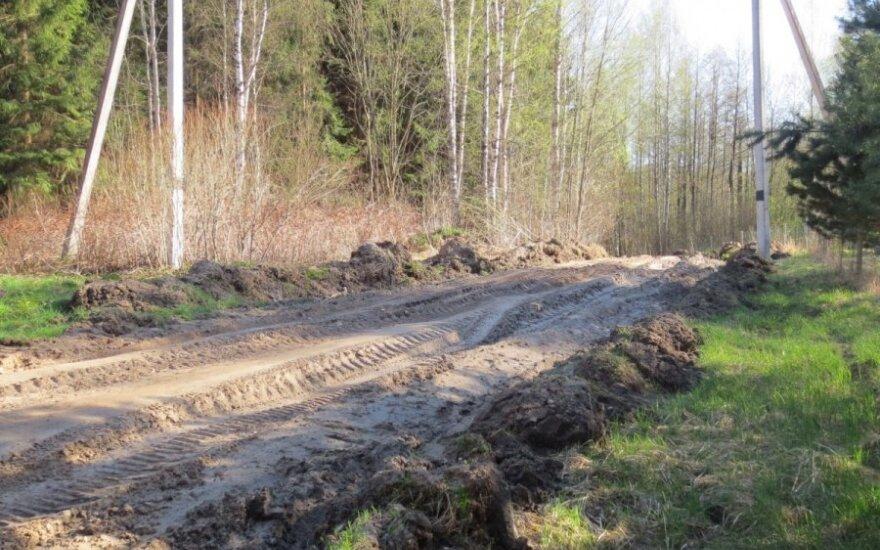 Miškavežių subjaurotas kelias. Vitalio Zaikausko nuotr.