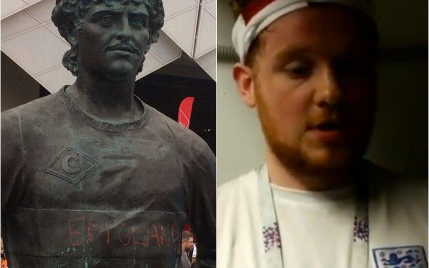 Fiodoro Čerenkovo paminklas ir jį apipurškęs anglas