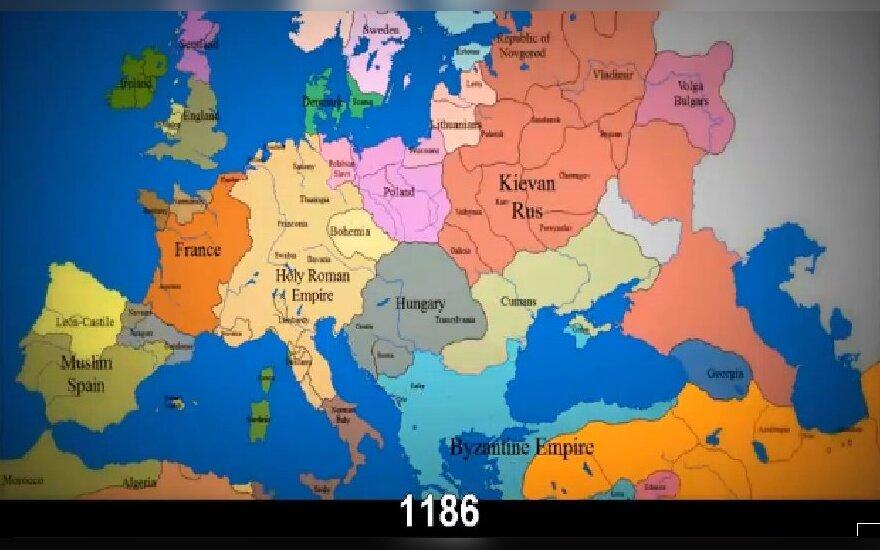Kaip per tūkstantmetį keitėsi Europos valstybių sienos