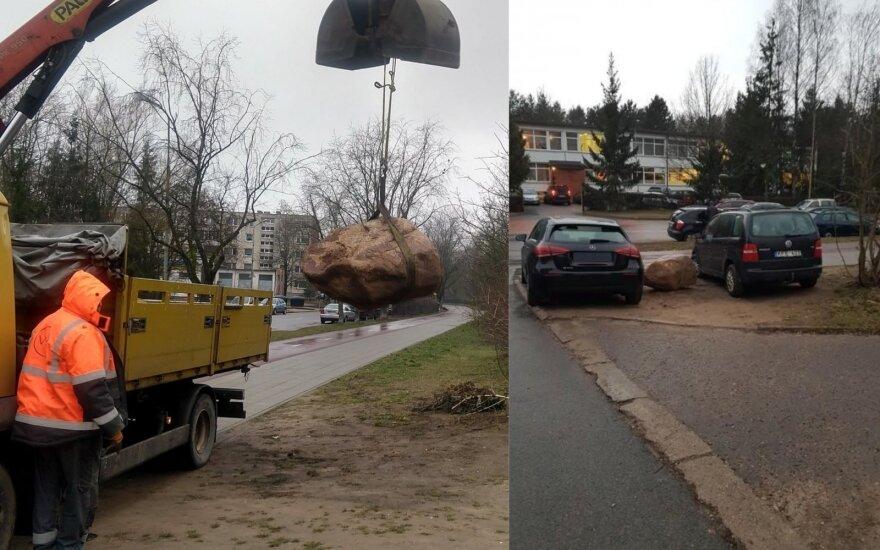 Vilnius su automobilius ant vejos statančiais vairuotojais kovos akmenimis / Karoliniškių seniūnijos nuotr.