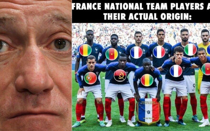 Deschampsas užstojo iš Afrikos kilusius savo rinktinės žaidėjus: mes – visi prancūzai