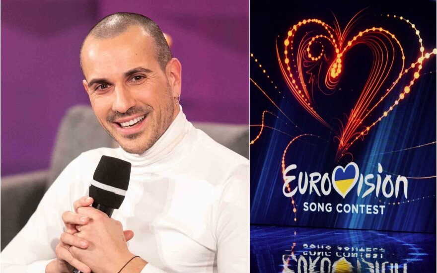 V.Valiukevičius ir Eurovizijos logotipas / Foto: Delfi, Vida Press