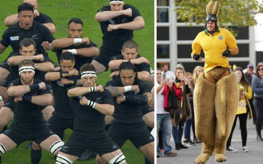 Naujosios Zelandijos rinktinės regbininkai ir australų fanas (AFP/Reuters/Scanpix nuotr.)