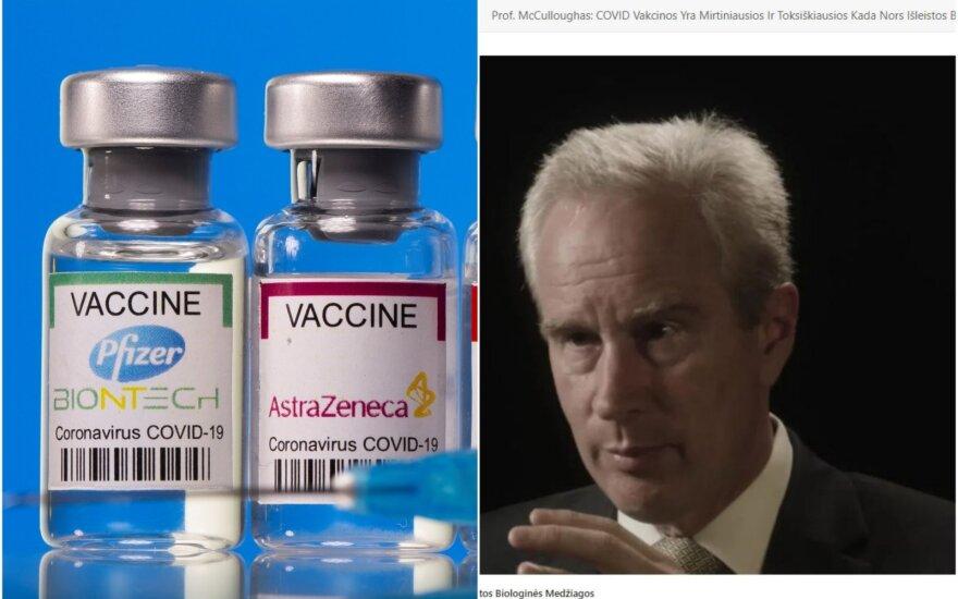 Kairėje – COVID-19 vakcinos, dešinėje – dezinformaciją skelbiantis kardiologas