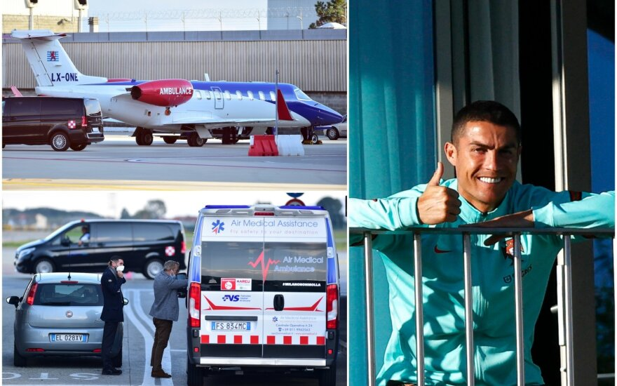 COVID-19 užsikrėtęs Cristiano Ronaldo atskrido į Turiną