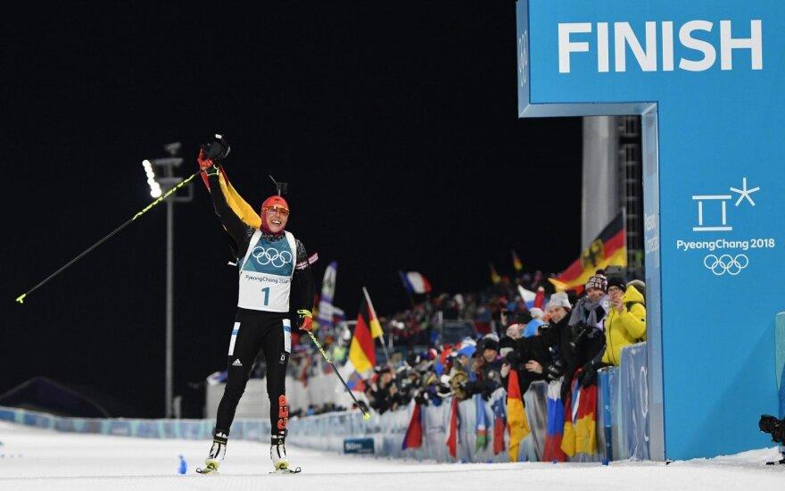 Vokietijos biatlonininkei Dahlmeier – antras aukso medalis
