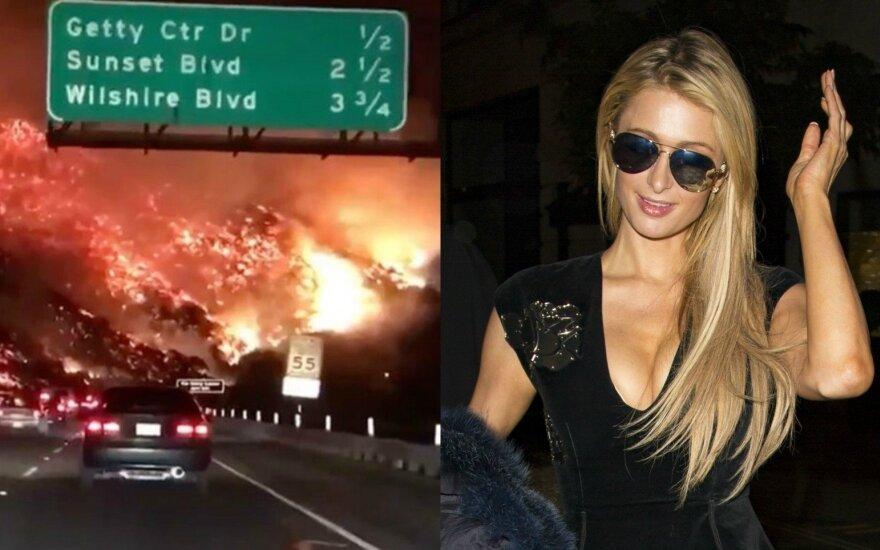 Gaisras Kalifornijoje, Paris Hilton