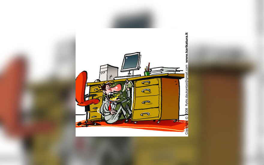 Girtavimas darbe - karikatūra