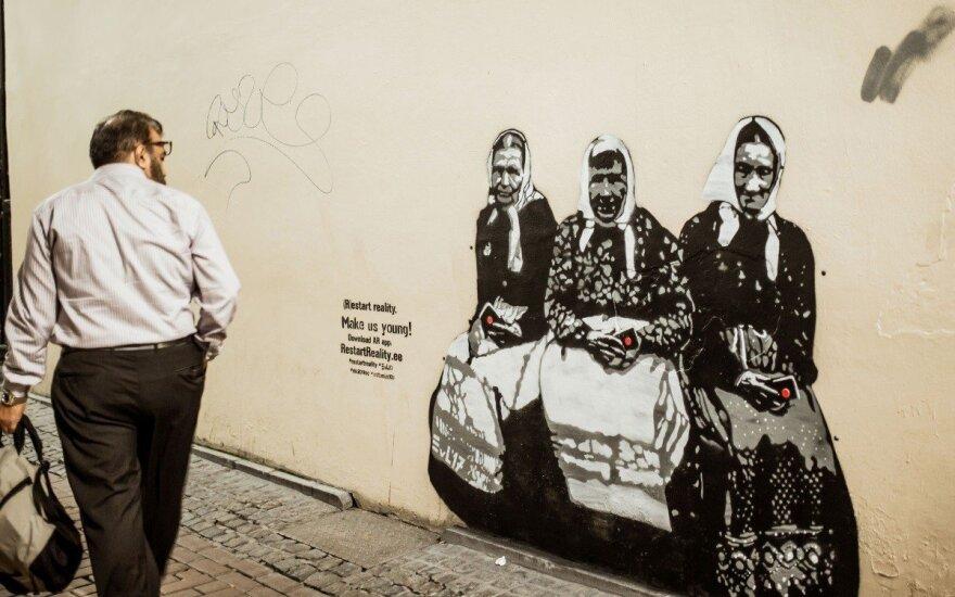 """Estijos """"Banksy"""" vadinamo menininko Edwardo von Lõngus kūrinys"""