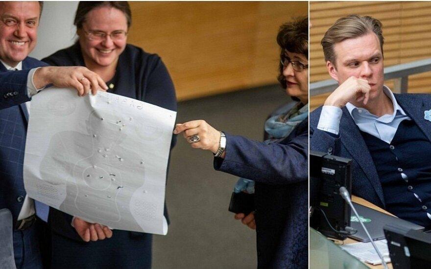 """Valdančiųjų """"pokštas"""" Seimo salėje – suvarpytas taikinys su įsivaizduojamu Landsbergiu?"""
