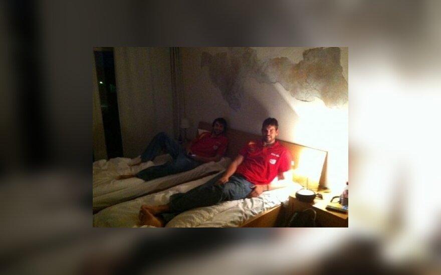 Marcas Gasolis Panevėžio viešbutyje/Twitter nuotr.