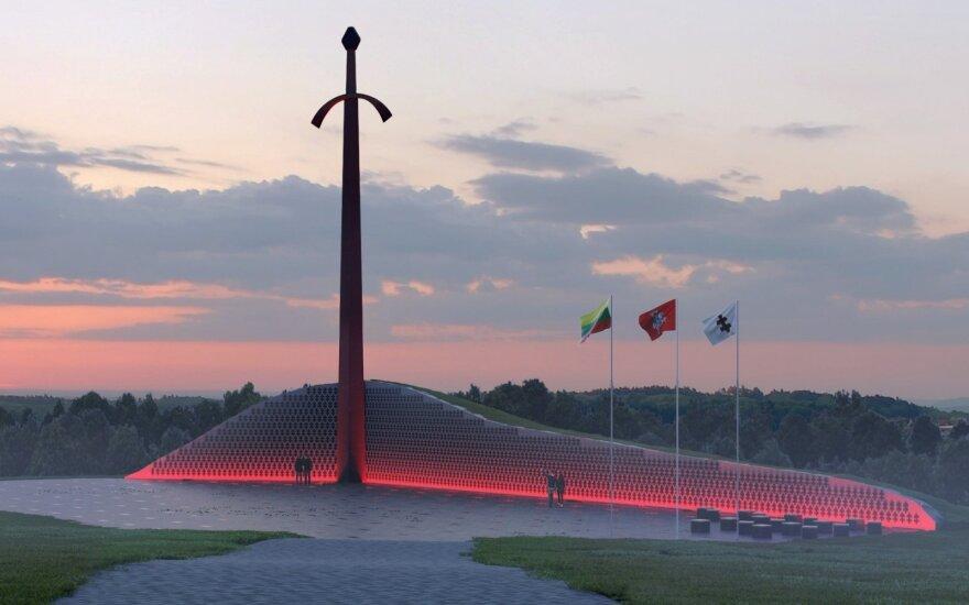 Kryžkalnyje atidengiamas monumentas Lietuvos partizanams. Lietuvos laisvės kovos sąjūdžio archyvo nuotr.