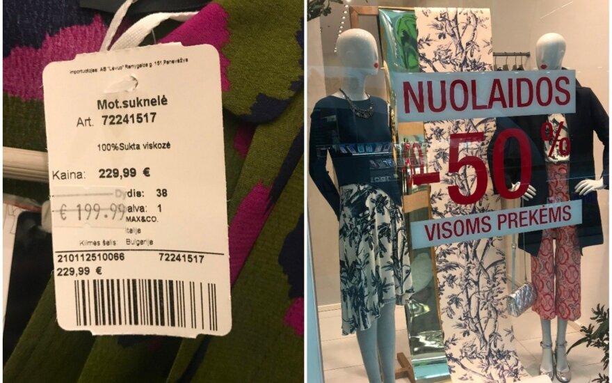"""Suknelės etikėtė, """"Max&Co"""" parduotuvės vitrina"""