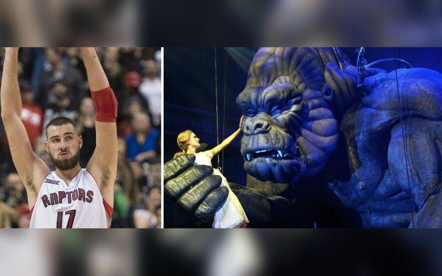 Jonas Valančiūnas ir King Kongas (Reuters ir AOP nuotr.)