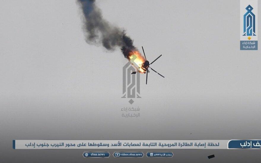 Sirijos Idlibo provincijoje numuštas vyriausybinių pajėgų sraigtasparnis