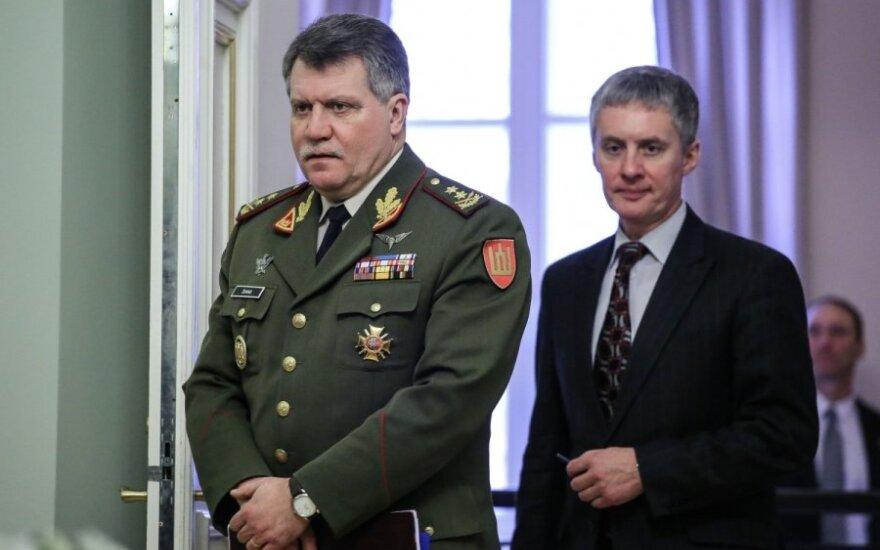 Army Chief Major General Vytautas Jonas Žukas and presidential advisor Valdemaras Sarapinas