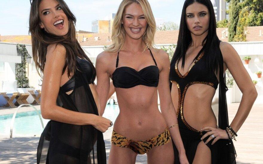 """Victoria's Secret"" modeliai Alessandra Ambrosio, Candice Swanepoel ir Adriana Lima"