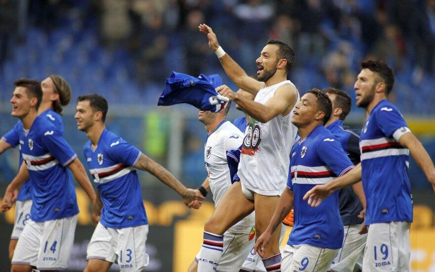 """Italijoje – Milano derbio atomazga 92 min. ir fantastiška """"Sampdoria"""" pergalė"""