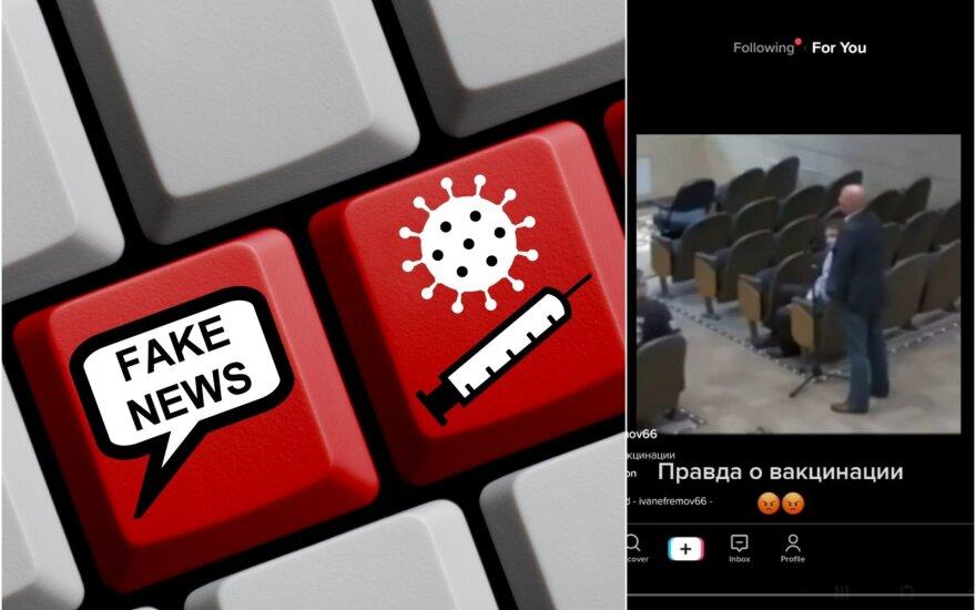 Dešinėje – kadras iš klaidinančio vaizdo įrašo