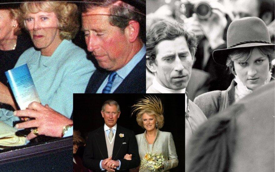 Princas Charlesas su žmona Camillą ir princesė Diana