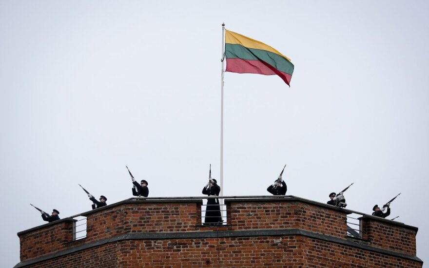 The flag-raising ceremony on Gediminas Tower in 2014