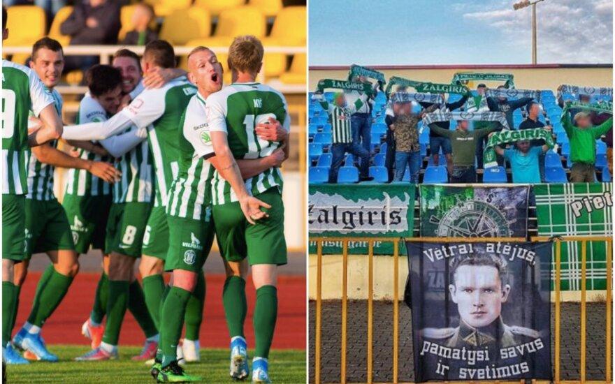 """Jono Noreikos atvaizdas """"Žalgirio"""" fanų sektoriuje (Foto: fkzalgiris.lt ir Facebook)"""