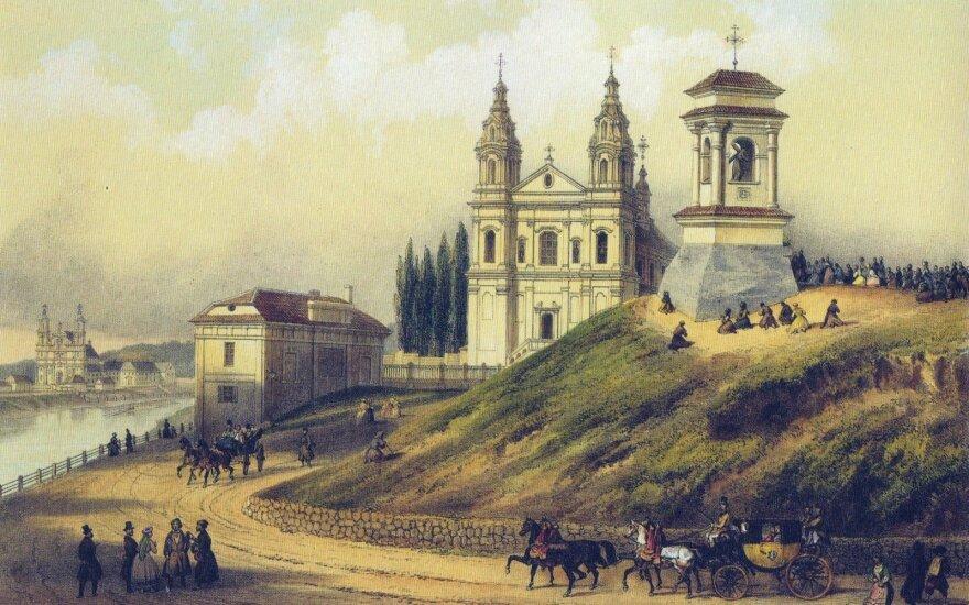"""Aušros vartų arka. J. Bułhako nuotr., 1913 m. LDM.Neries pakrantė prie Žaliojo tilto. Litografija iš 1848 m. išleisto J. Wilczyńskio """"Vilniaus albumo""""."""
