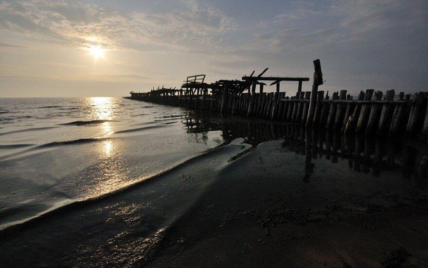 Gaivins smėliu užneštą Šventosios uostą
