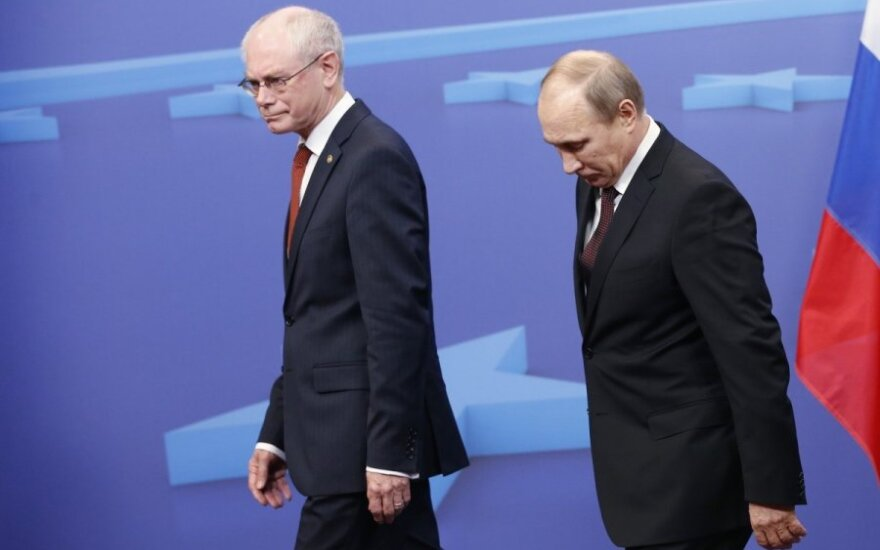 EU Council President Herman Van Rompuy and Russian President Vladimir Putin