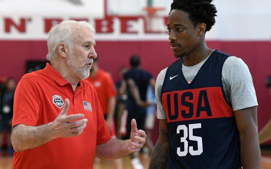 JAV krepšinio rinktinės stovykla: Gregg Popovich ir DeMaras DeRozanas