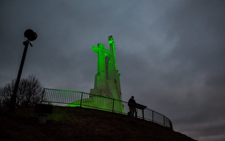 The Three Crosses were lit in green on St. Patrick's Day