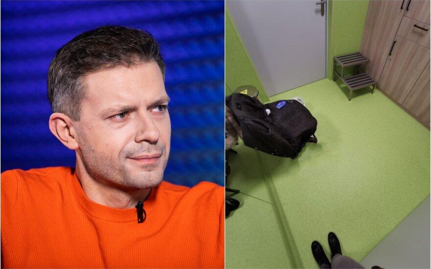 Andrius Tapinas ir kambarėlis Santariškių Infekciniame skyriuje / Foto: Delfi, asm.archyvo