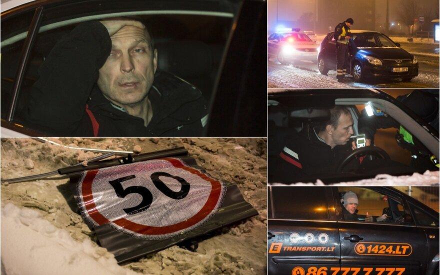 Naktinis reidas Vilniuje: ženklus išvartęs girtas vairuotojas nė nepristabdė