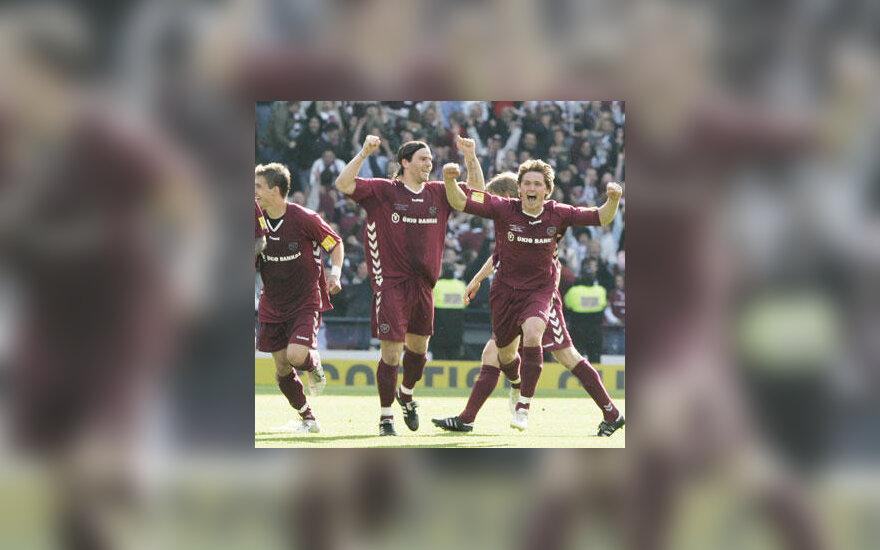 Hearts klubo žaidėjas Saulius Mikoliūnas džiaugiasi pergale