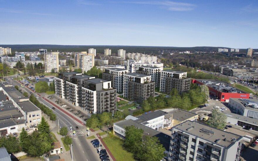 """Buvusioje """"Autoūkio"""" teritorijoje Žirmūnuose planuojamas butų kvartalas / """"Kenova asset management"""" nuotr."""