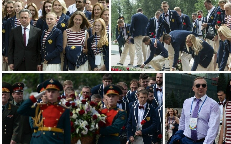 Rusijos olimpiečių palydėtuvės (Sputnik, AP-Scanpix nuotr.)