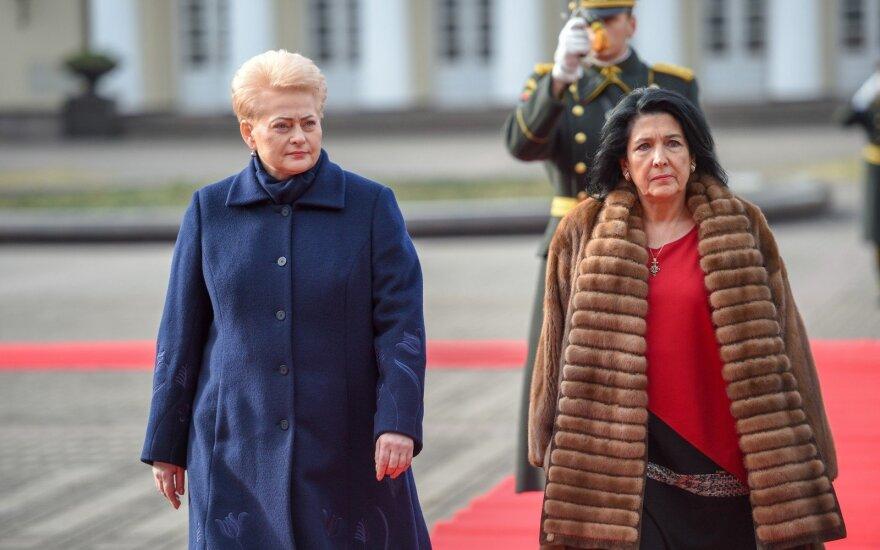 Gruzijos prezidentė Vilniuje: mūsų negali sustabdyti agresyvią politiką vykdanti Rusijai