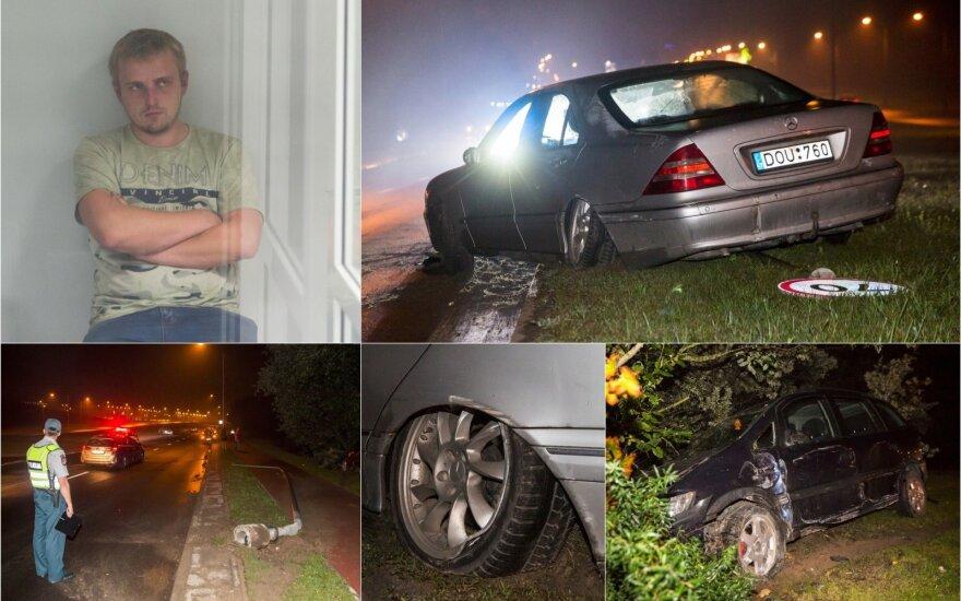 Incidentas Vilniuje: nuo kelio nustumtas automobilis, nuverstas stulpas, o girtas kaltininkas prašė pasigailėjimo