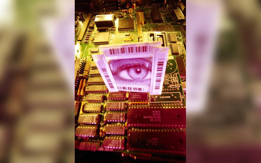 Duomenys, kompiuteriai, technologijos, (IT), virusas, hacker